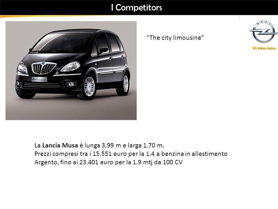 I Competitors La Lancia Musa è lunga 3,99 m e larga 1,70 m.