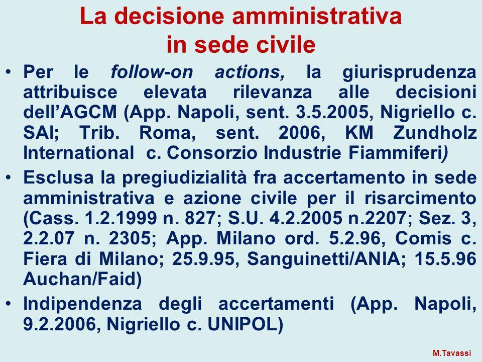 La decisione amministrativa in sede civile Per le follow-on actions, la giurisprudenza attribuisce elevata rilevanza alle decisioni dell'AGCM (App.