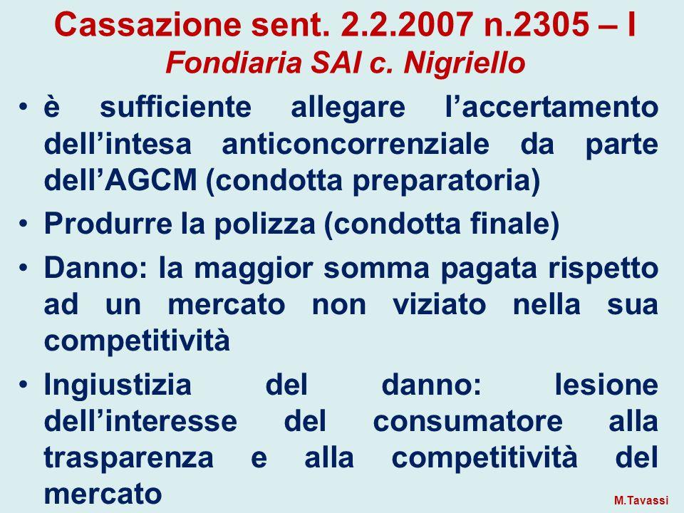 Cassazione sent.2.2.2007 n.2305 – I Fondiaria SAI c.