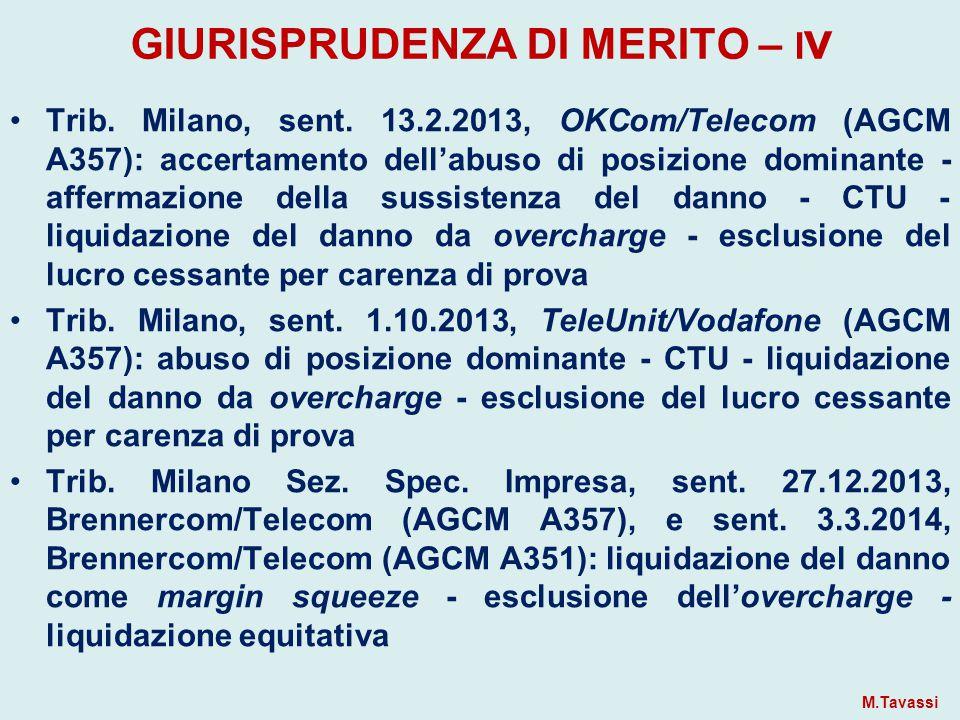 GIURISPRUDENZA DI MERITO – I v Trib.Milano, sent.