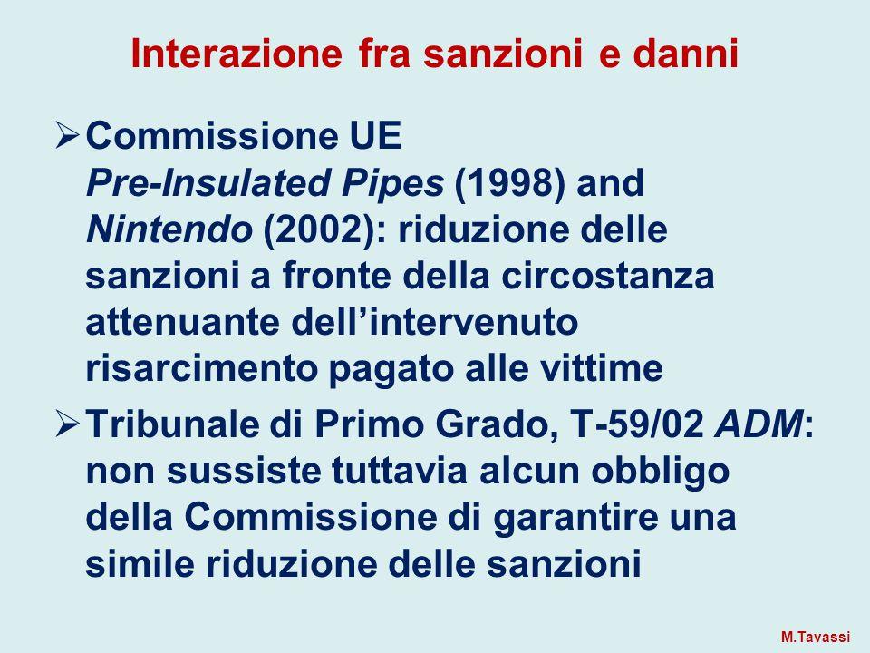 Interazione fra sanzioni e danni  Commissione UE Pre-Insulated Pipes (1998) and Nintendo (2002): riduzione delle sanzioni a fronte della circostanza attenuante dell'intervenuto risarcimento pagato alle vittime  Tribunale di Primo Grado, T-59/02 ADM: non sussiste tuttavia alcun obbligo della Commissione di garantire una simile riduzione delle sanzioni M.Tavassi