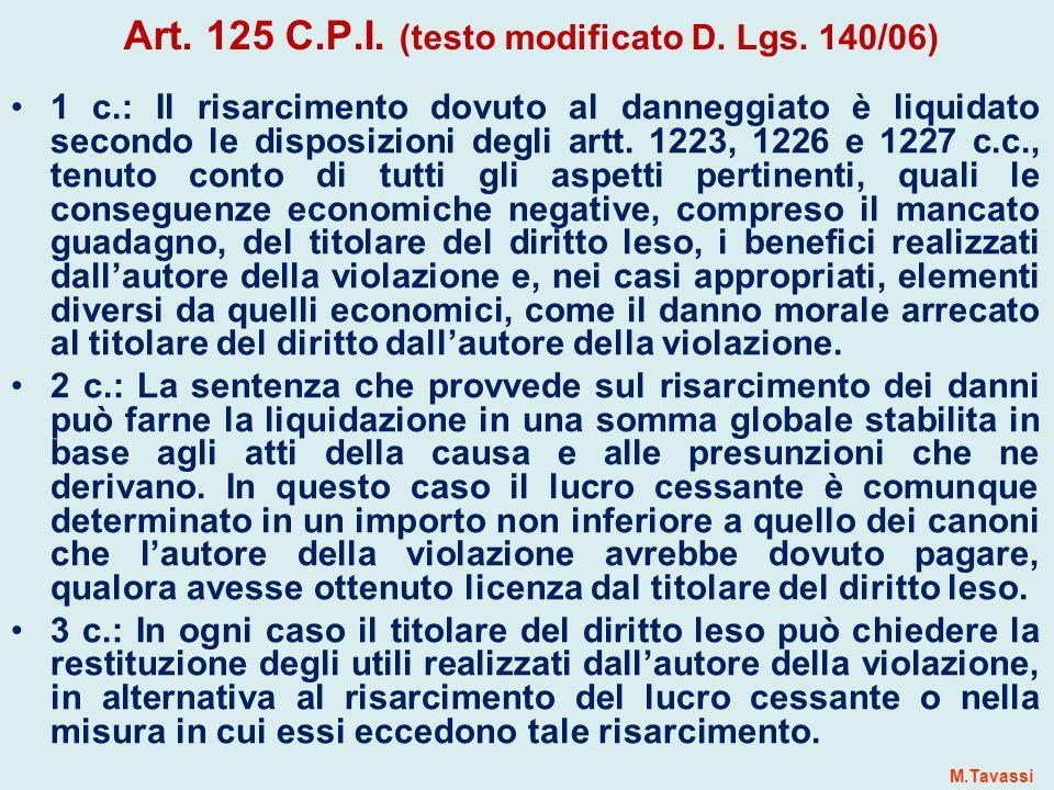 Art.125 C.P.I. (testo modificato D. Lgs.