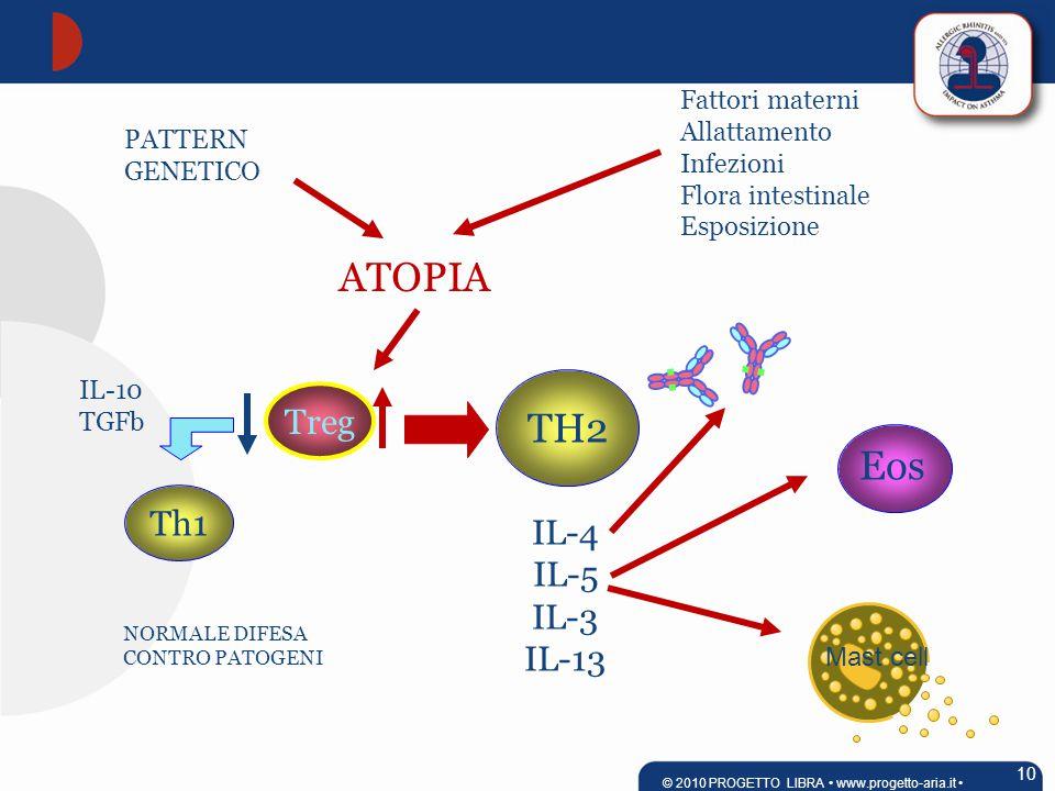 PATTERN GENETICO Fattori materni Allattamento Infezioni Flora intestinale Esposizione ATOPIA TH2 Treg IL-4 IL-5 IL-3 IL-13 Th1 IL-10 TGFb Eos NORMALE DIFESA CONTRO PATOGENI 10 © 2010 PROGETTO LIBRA www.progetto-aria.it Mast cell