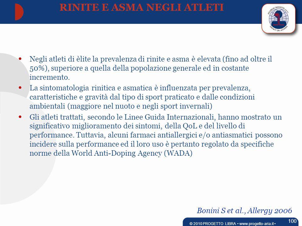 Bonini S et al., Allergy 2006 Negli atleti di èlite la prevalenza di rinite e asma è elevata (fino ad oltre il 50%), superiore a quella della popolazione generale ed in costante incremento.