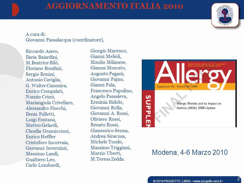 Modena, 4-6 Marzo 2010 A cura di: Giovanni Passalacqua (coordinatore), Riccardo Asero, Ilaria Baiardini, M.Beatrice Bilò, Floriano Bonifazi, Sergio Bonini, Antonio Caviglia, G.