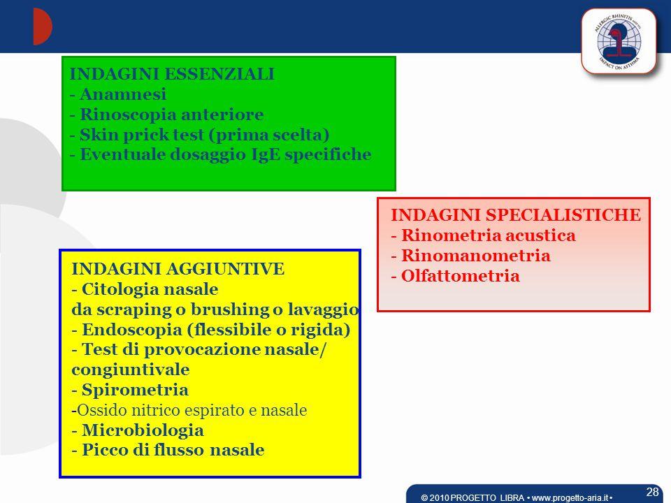 INDAGINI ESSENZIALI - Anamnesi - Rinoscopia anteriore - Skin prick test (prima scelta) - Eventuale dosaggio IgE specifiche INDAGINI AGGIUNTIVE - Citologia nasale da scraping o brushing o lavaggio - Endoscopia (flessibile o rigida) - Test di provocazione nasale/ congiuntivale - Spirometria - Ossido nitrico espirato e nasale - Microbiologia - Picco di flusso nasale INDAGINI SPECIALISTICHE - Rinometria acustica - Rinomanometria - Olfattometria 28 © 2010 PROGETTO LIBRA www.progetto-aria.it