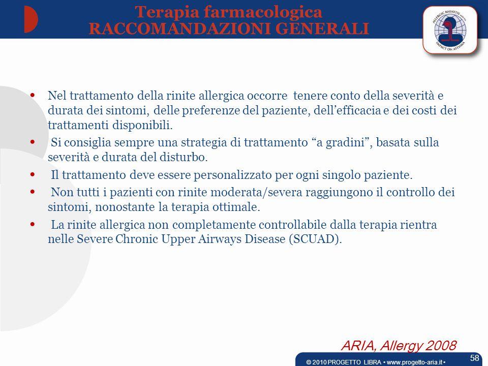 ARIA, Allergy 2008 Nel trattamento della rinite allergica occorre tenere conto della severità e durata dei sintomi, delle preferenze del paziente, dell'efficacia e dei costi dei trattamenti disponibili.