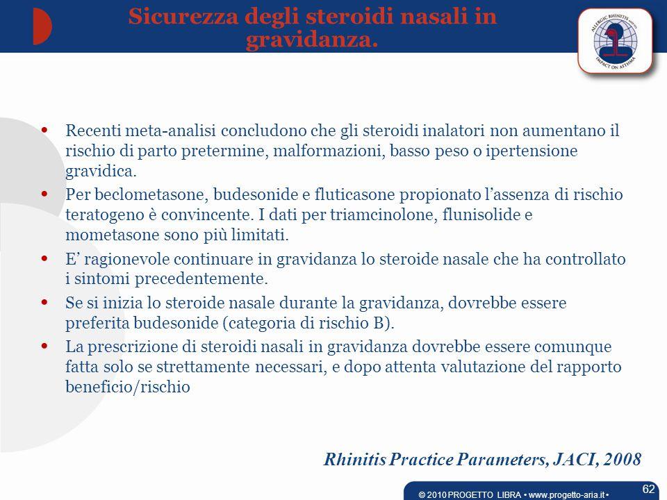 Rhinitis Practice Parameters, JACI, 2008 Recenti meta-analisi concludono che gli steroidi inalatori non aumentano il rischio di parto pretermine, malformazioni, basso peso o ipertensione gravidica.