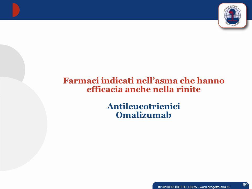 69 © 2010 PROGETTO LIBRA www.progetto-aria.it Farmaci indicati nell'asma che hanno efficacia anche nella rinite Antileucotrienici Omalizumab