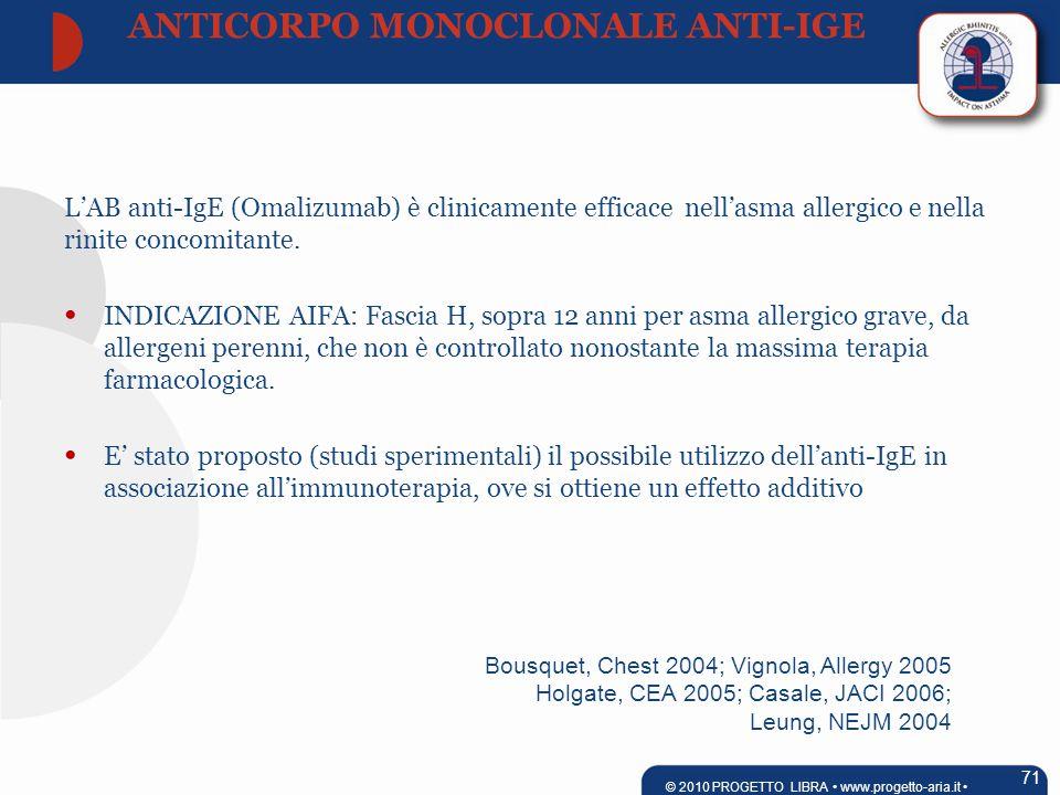 Bousquet, Chest 2004; Vignola, Allergy 2005 Holgate, CEA 2005; Casale, JACI 2006; Leung, NEJM 2004 L'AB anti-IgE (Omalizumab) è clinicamente efficace nell'asma allergico e nella rinite concomitante.