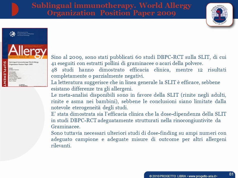 Sino al 2009, sono stati pubblicati 60 studi DBPC-RCT sulla SLIT, di cui 41 eseguiti con estratti pollini di graminacee o acari della polvere.