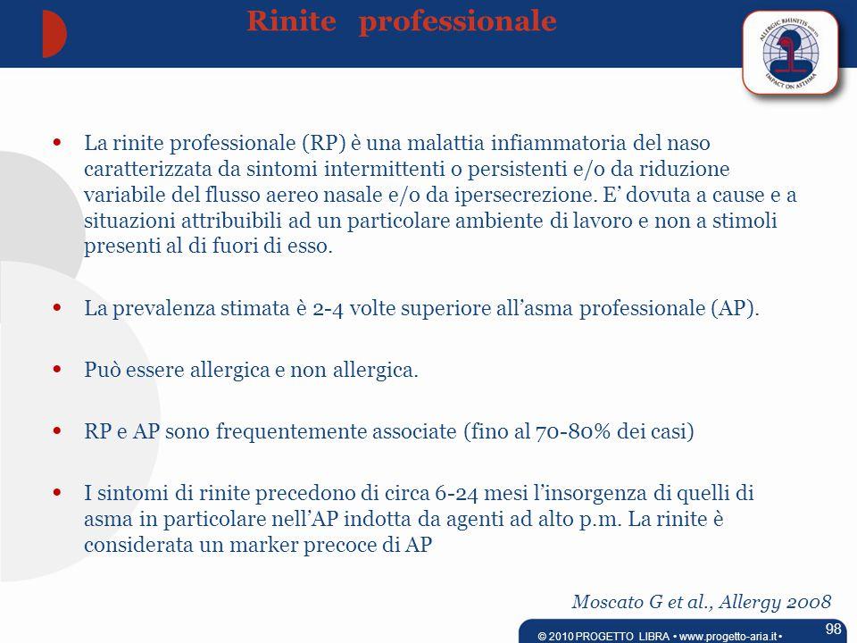 Moscato G et al., Allergy 2008 La rinite professionale (RP) è una malattia infiammatoria del naso caratterizzata da sintomi intermittenti o persistenti e/o da riduzione variabile del flusso aereo nasale e/o da ipersecrezione.