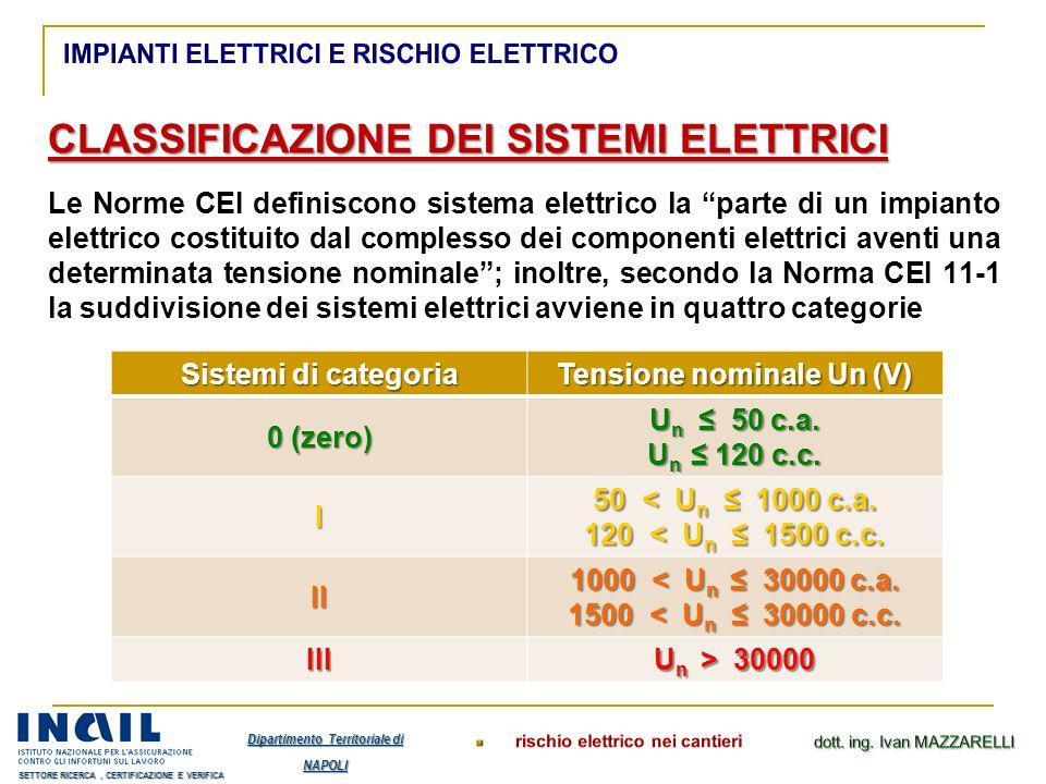 """CLASSIFICAZIONE DEI SISTEMI ELETTRICI Le Norme CEI definiscono sistema elettrico la """"parte di un impianto elettrico costituito dal complesso dei compo"""
