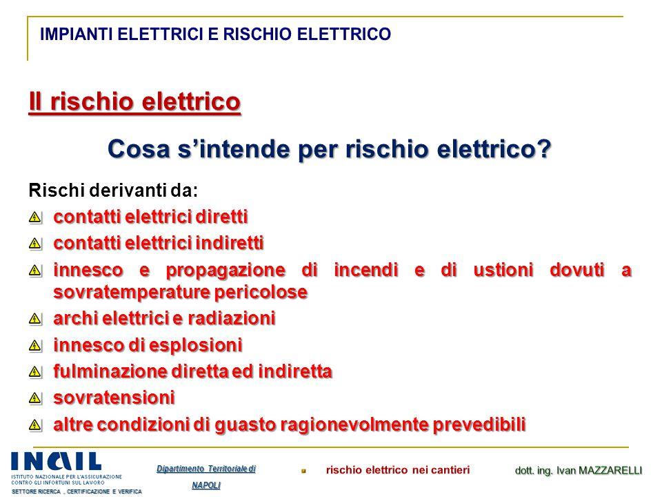 Il rischio elettrico Cosa s'intende per rischio elettrico? Rischi derivanti da: contatti elettrici diretti contatti elettrici indiretti innesco e prop