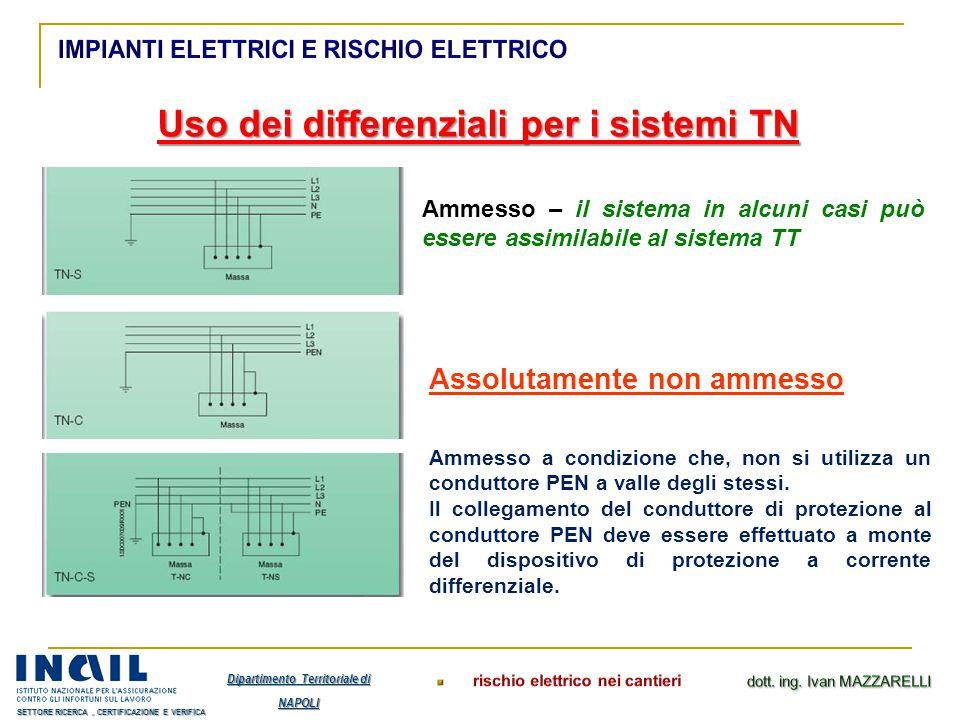 Uso dei differenziali per i sistemi TN Ammesso – il sistema in alcuni casi può essere assimilabile al sistema TT Assolutamente non ammesso Ammesso a c