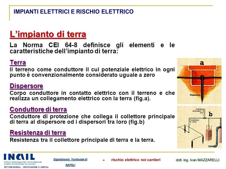 L'impianto di terra La Norma CEI 64-8 definisce gli elementi e le caratteristiche dell'impianto di terra:Terra Il terreno come conduttore il cui poten