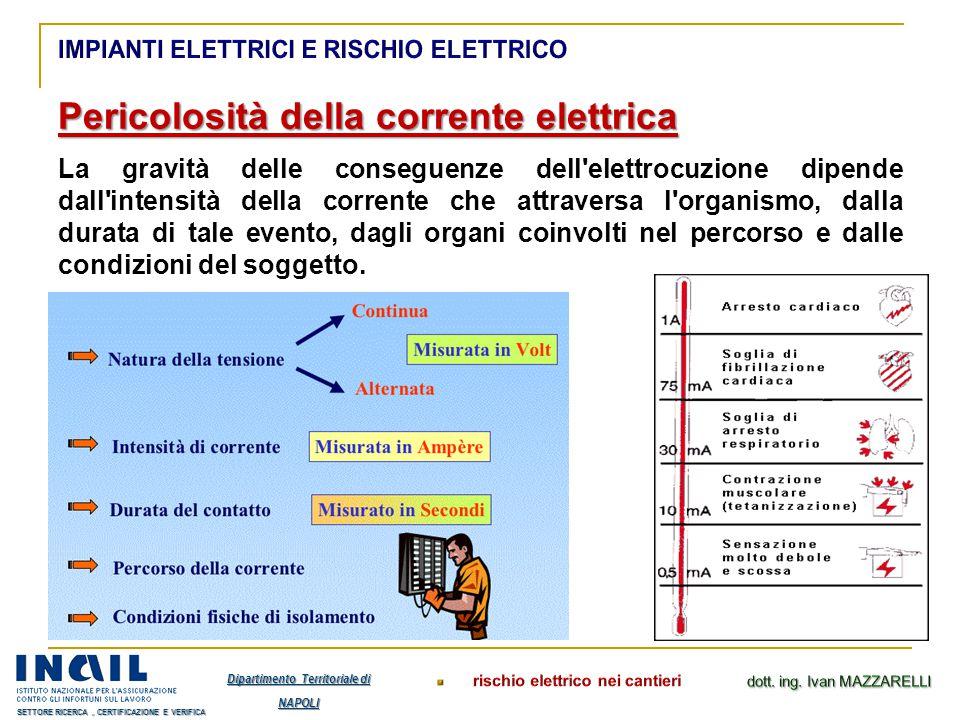 Pericolosità della corrente elettrica La gravità delle conseguenze dell'elettrocuzione dipende dall'intensità della corrente che attraversa l'organism