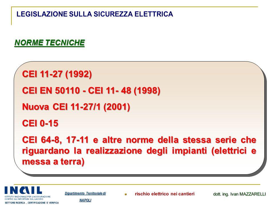 NORME TECNICHE CEI 11-27 (1992) CEI EN 50110 - CEI 11- 48 (1998) Nuova CEI 11-27/1 (2001) CEI 0-15 CEI 64-8, 17-11 e altre norme della stessa serie ch