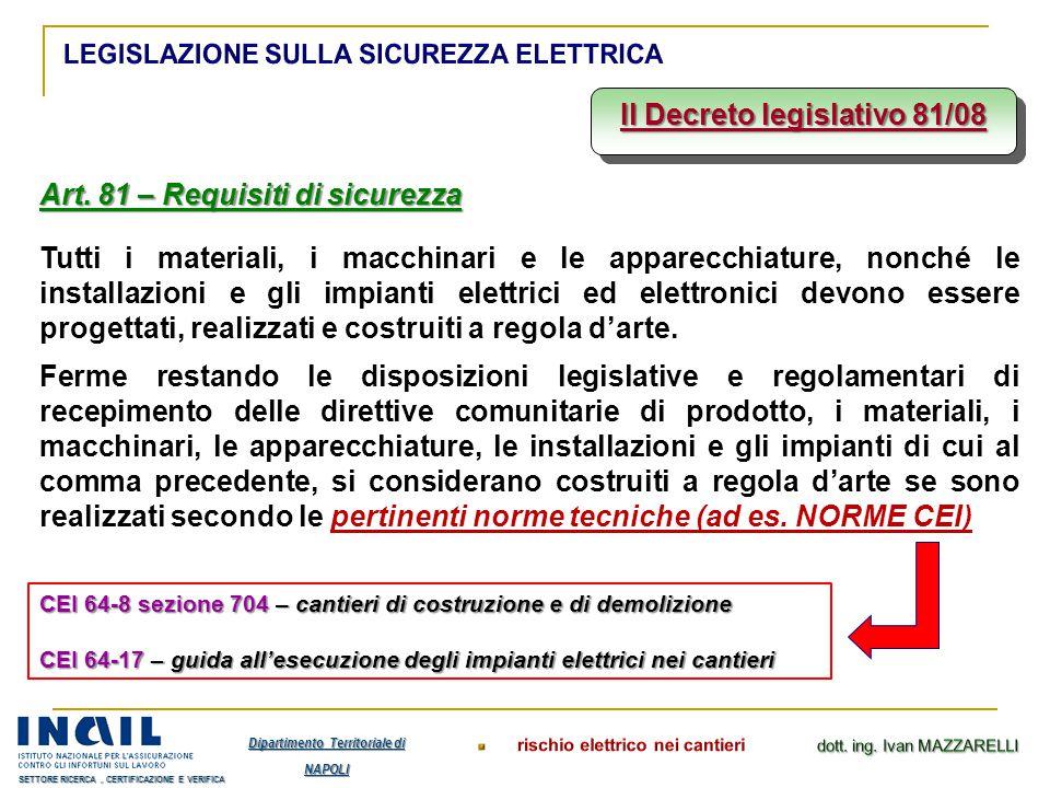 Il Decreto legislativo 81/08 Art. 81 – Requisiti di sicurezza Tutti i materiali, i macchinari e le apparecchiature, nonché le installazioni e gli impi