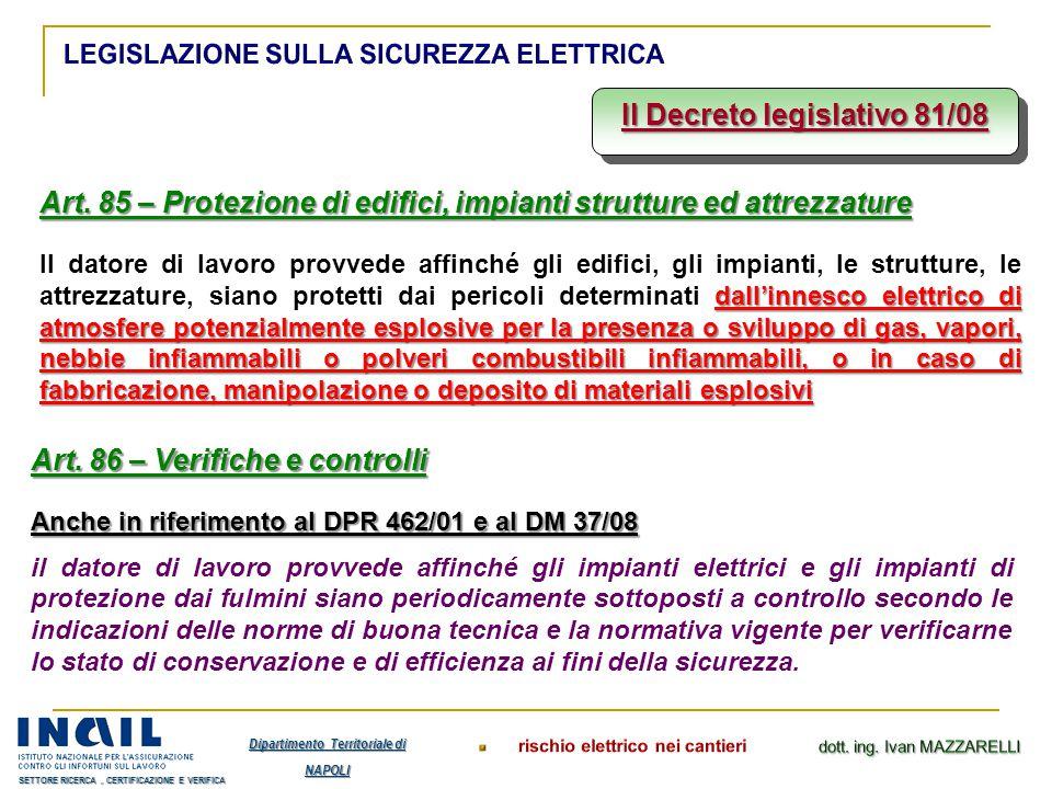 Il Decreto legislativo 81/08 Art. 85 – Protezione di edifici, impianti strutture ed attrezzature dall'innesco elettrico di atmosfere potenzialmente es