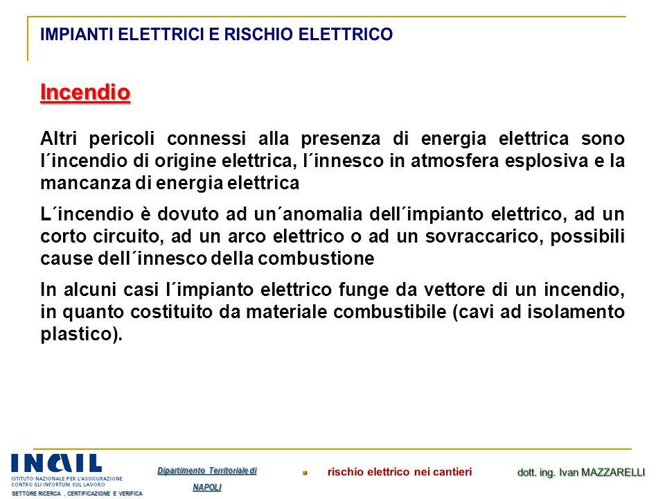 Incendio Altri pericoli connessi alla presenza di energia elettrica sono l´incendio di origine elettrica, l´innesco in atmosfera esplosiva e la mancan
