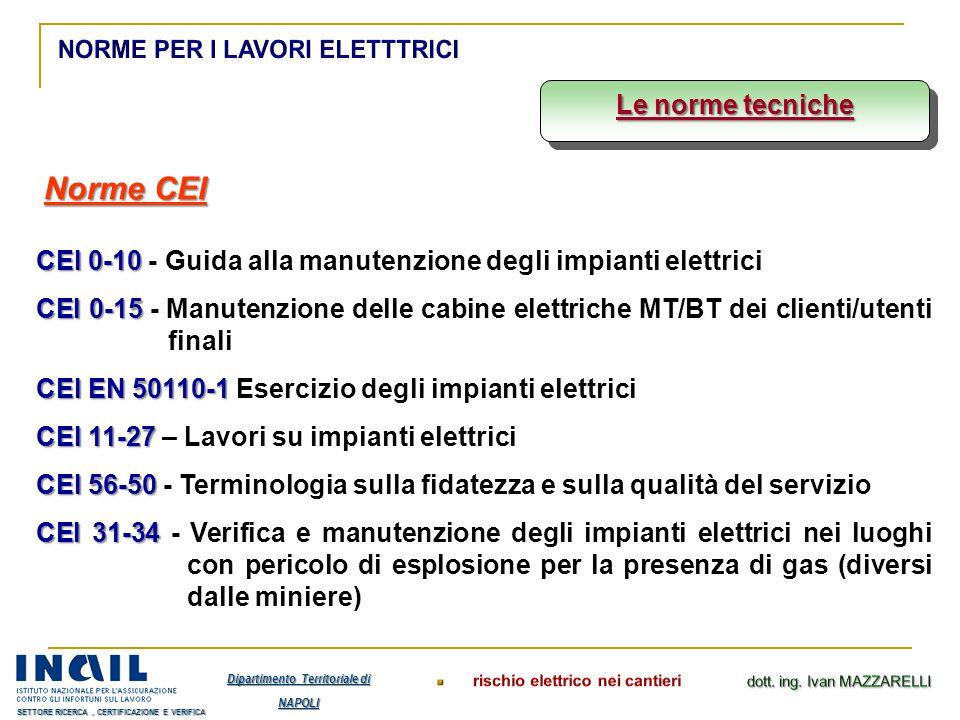 Le norme tecniche Norme CEI CEI 0-10 CEI 0-10 - Guida alla manutenzione degli impianti elettrici CEI 0-15 CEI 0-15 - Manutenzione delle cabine elettri