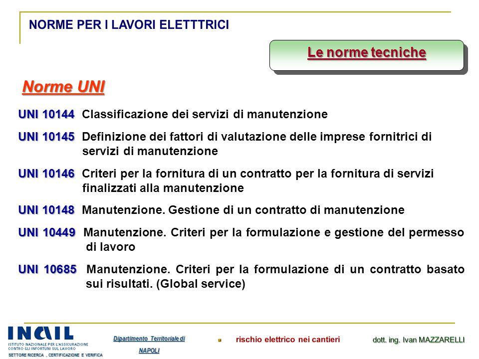 Le norme tecniche Norme UNI UNI 10144 UNI 10144 Classificazione dei servizi di manutenzione UNI 10145 UNI 10145 Definizione dei fattori di valutazione