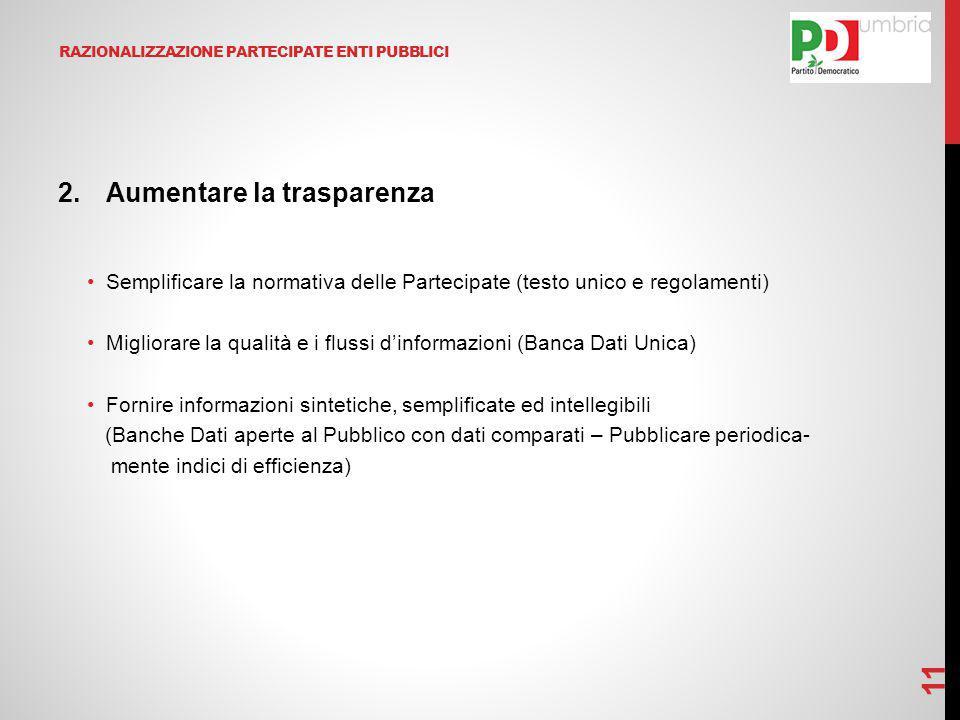 RAZIONALIZZAZIONE PARTECIPATE ENTI PUBBLICI 2.Aumentare la trasparenza Semplificare la normativa delle Partecipate (testo unico e regolamenti) Miglior