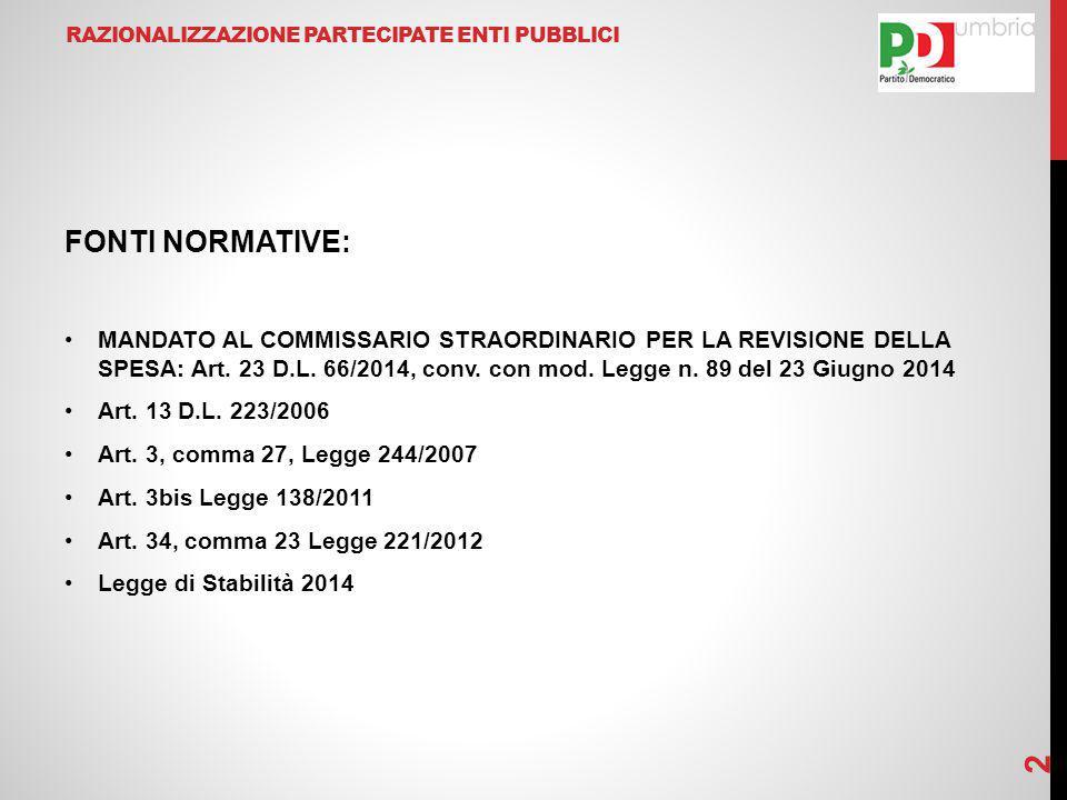 RAZIONALIZZAZIONE PARTECIPATE ENTI PUBBLICI FONTI NORMATIVE: MANDATO AL COMMISSARIO STRAORDINARIO PER LA REVISIONE DELLA SPESA: Art. 23 D.L. 66/2014,