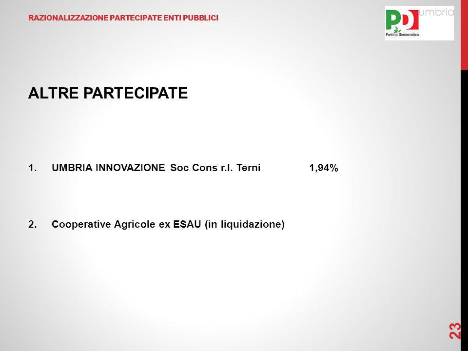 RAZIONALIZZAZIONE PARTECIPATE ENTI PUBBLICI ALTRE PARTECIPATE 1.UMBRIA INNOVAZIONE Soc Cons r.l. Terni1,94% 2.Cooperative Agricole ex ESAU (in liquida