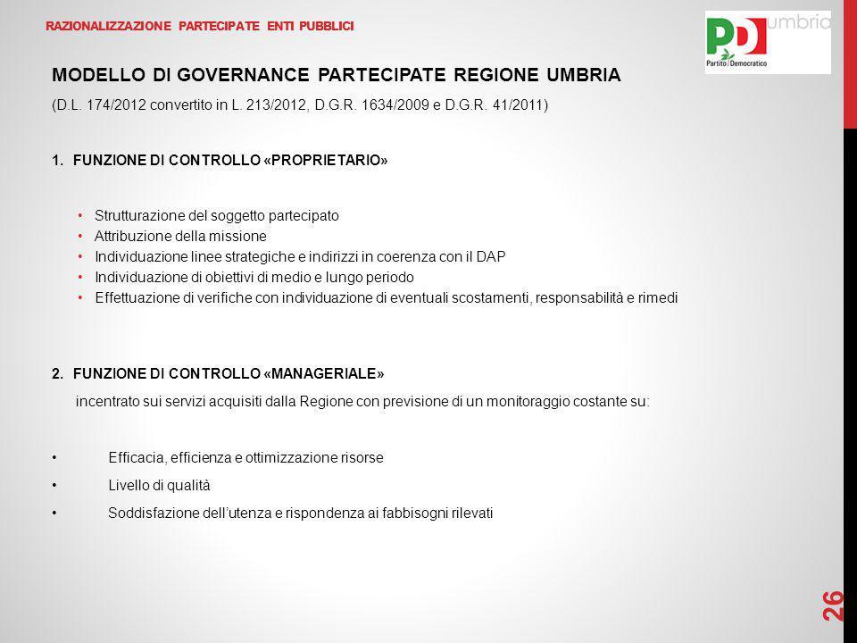 RAZIONALIZZAZIONE PARTECIPATE ENTI PUBBLICI MODELLO DI GOVERNANCE PARTECIPATE REGIONE UMBRIA (D.L. 174/2012 convertito in L. 213/2012, D.G.R. 1634/200