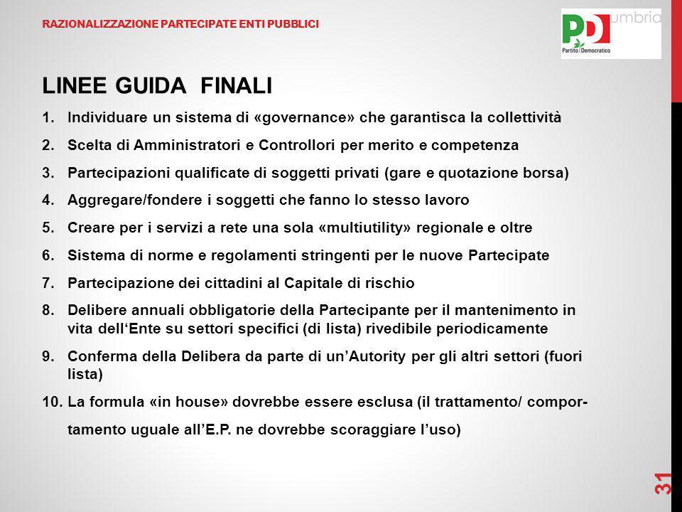 RAZIONALIZZAZIONE PARTECIPATE ENTI PUBBLICI LINEE GUIDA FINALI 1.Individuare un sistema di «governance» che garantisca la collettività 2.Scelta di Amm