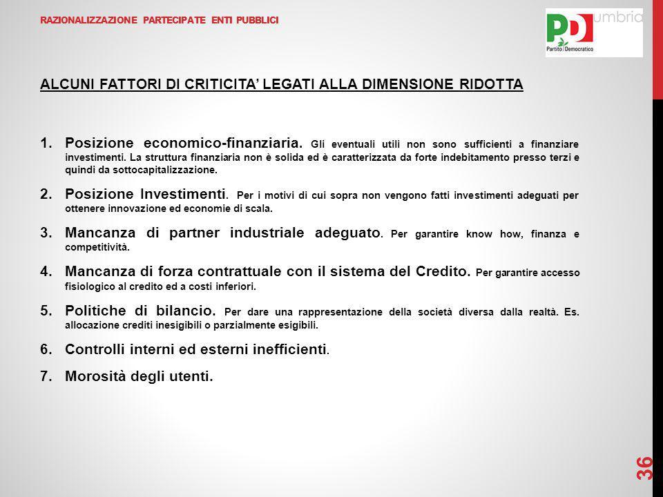 RAZIONALIZZAZIONE PARTECIPATE ENTI PUBBLICI ALCUNI FATTORI DI CRITICITA' LEGATI ALLA DIMENSIONE RIDOTTA 1.Posizione economico-finanziaria.