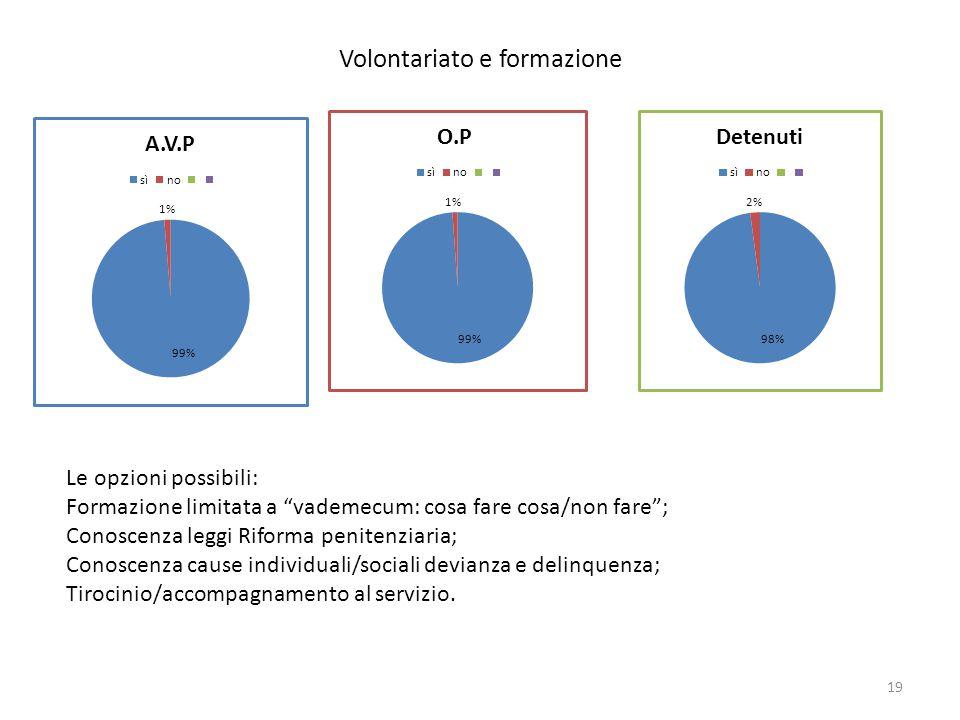 """Volontariato e formazione Le opzioni possibili: Formazione limitata a """"vademecum: cosa fare cosa/non fare""""; Conoscenza leggi Riforma penitenziaria; Co"""