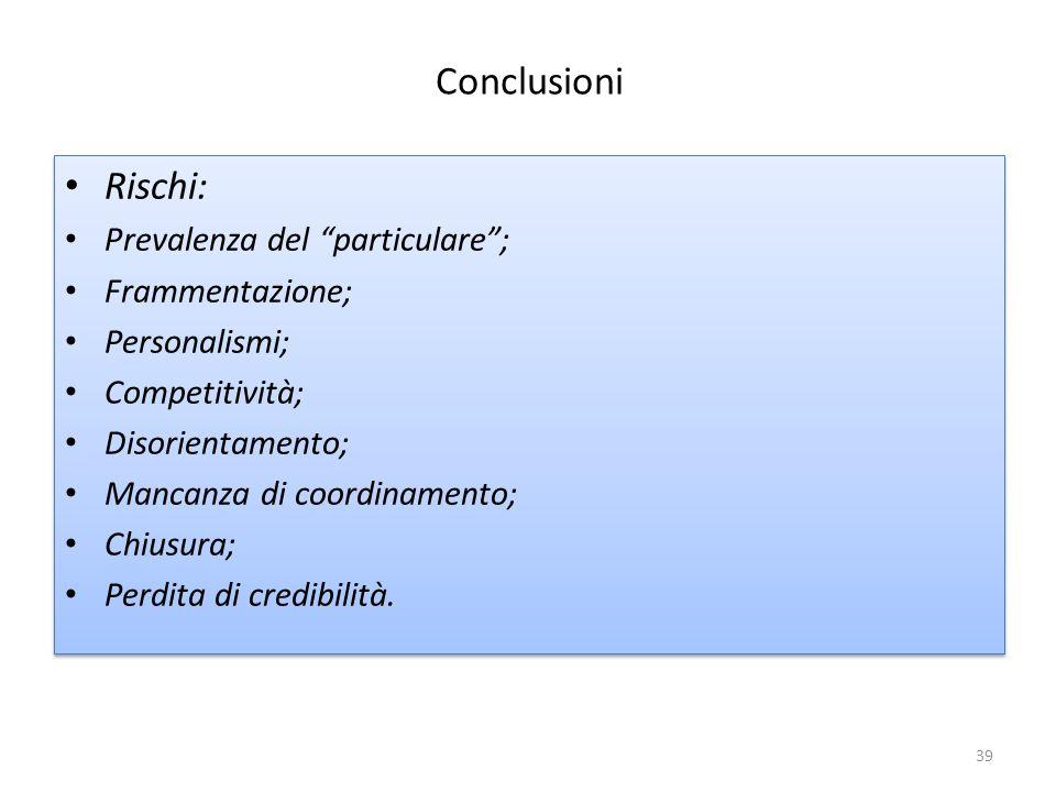 Conclusioni Rischi: Prevalenza del particulare ; Frammentazione; Personalismi; Competitività; Disorientamento; Mancanza di coordinamento; Chiusura; Perdita di credibilità.