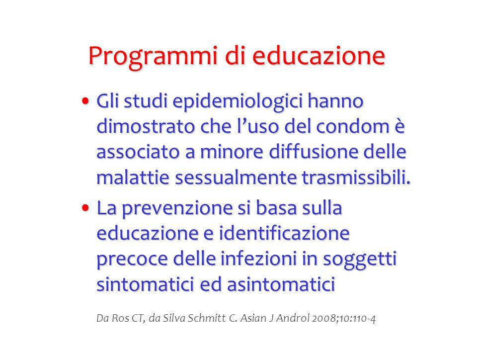 Programmi di educazione Gli studi epidemiologici hanno dimostrato che l'uso del condom è associato a minore diffusione delle malattie sessualmente tra