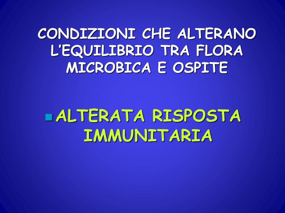 CONDIZIONI CHE ALTERANO L'EQUILIBRIO TRA FLORA MICROBICA E OSPITE n ALTERATA RISPOSTA IMMUNITARIA