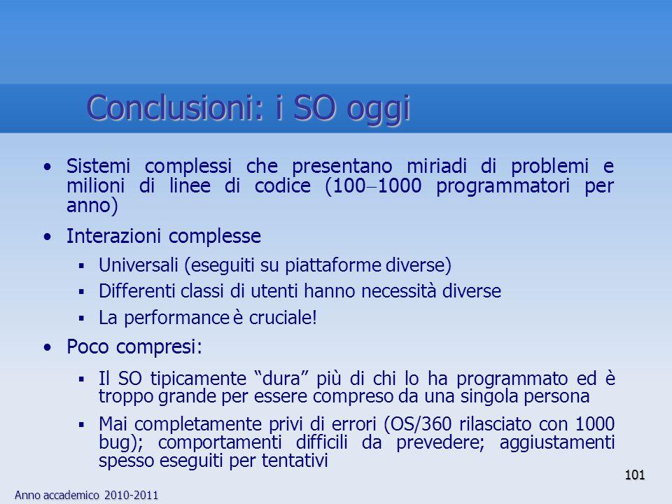 Anno accademico 2010-2011 101 Sistemi complessi che presentano miriadi di problemi e milioni di linee di codice (100  1000 programmatori per anno) In