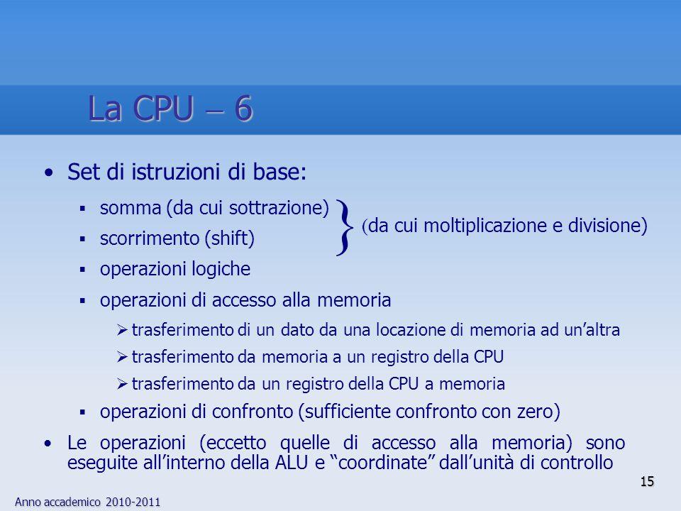 Anno accademico 2010-2011 15 Set di istruzioni di base:  somma (da cui sottrazione)  scorrimento (shift)  operazioni logiche  operazioni di access