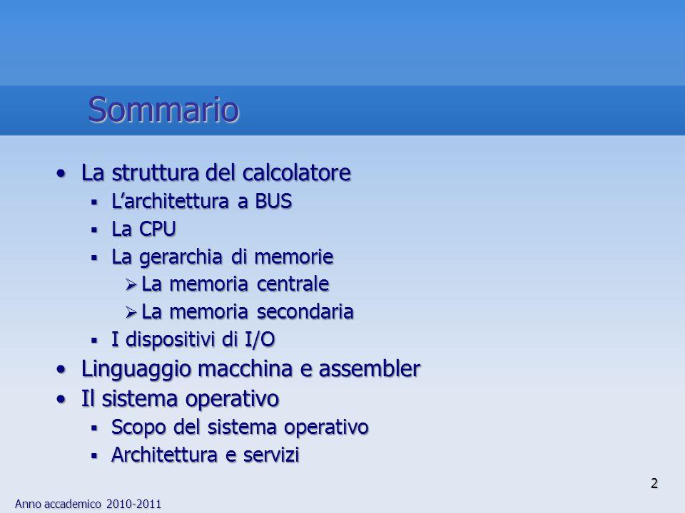 Anno accademico 2010-2011 2 Sommario La struttura del calcolatoreLa struttura del calcolatore  L'architettura a BUS  La CPU  La gerarchia di memori