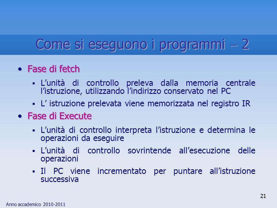 Anno accademico 2010-2011 21 Fase di fetchFase di fetch  L'unità di controllo preleva dalla memoria centrale l'istruzione, utilizzando l'indirizzo co