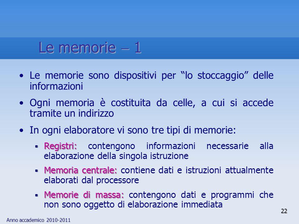 """Anno accademico 2010-2011 22 Le memorie sono dispositivi per """"lo stoccaggio"""" delle informazioni Ogni memoria è costituita da celle, a cui si accede tr"""