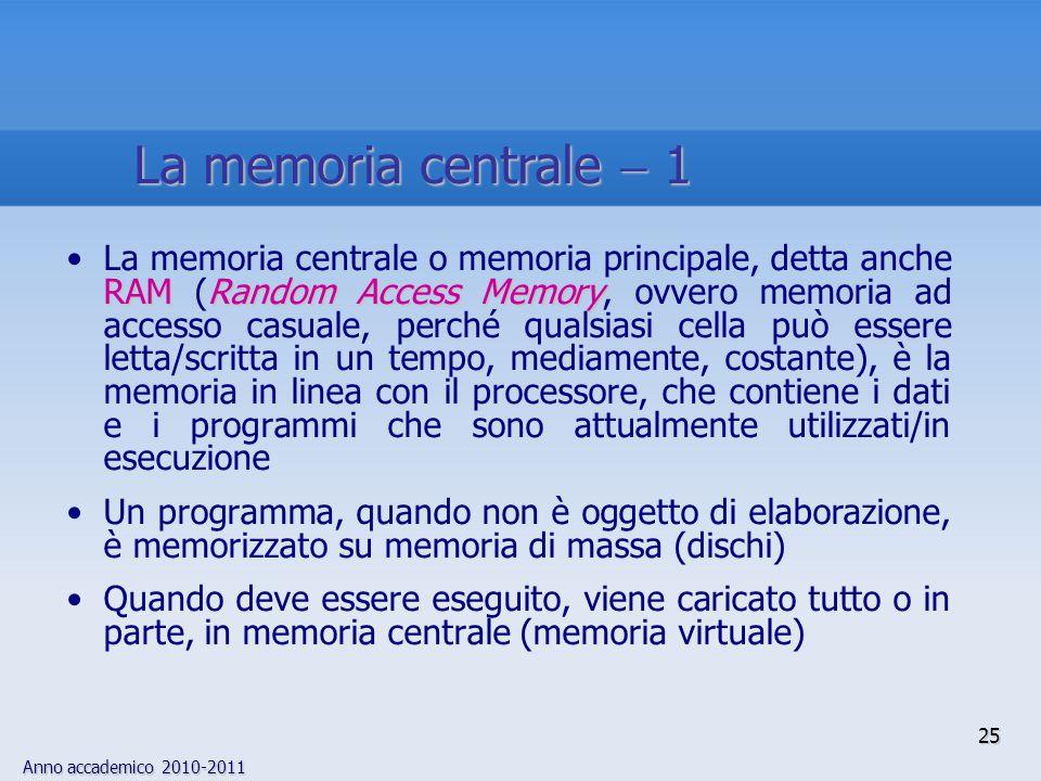 Anno accademico 2010-2011 25 RAMRandom Access MemoryLa memoria centrale o memoria principale, detta anche RAM (Random Access Memory, ovvero memoria ad