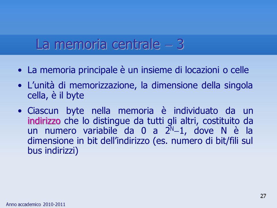 Anno accademico 2010-2011 27 La memoria principale è un insieme di locazioni o celle L'unità di memorizzazione, la dimensione della singola cella, è i