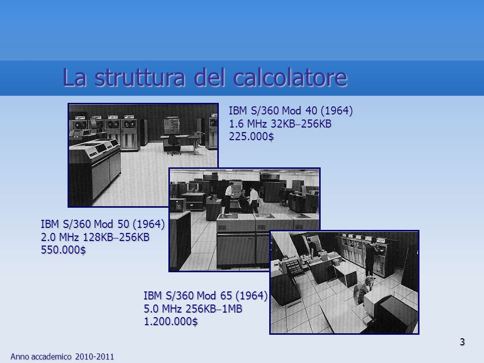 Anno accademico 2010-2011 3 La struttura del calcolatore IBM S/360 Mod 40 (1964) 1.6 MHz 32KB  256KB 225.000$ IBM S/360 Mod 50 (1964) 2.0 MHz 128KB 