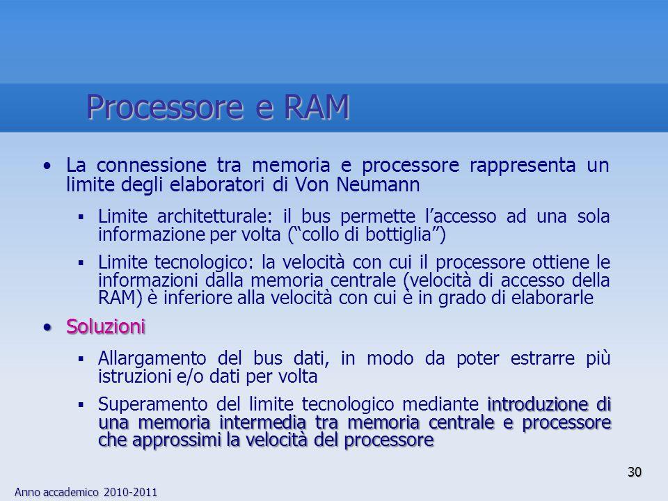 Anno accademico 2010-2011 30 La connessione tra memoria e processore rappresenta un limite degli elaboratori di Von Neumann  Limite architetturale: i