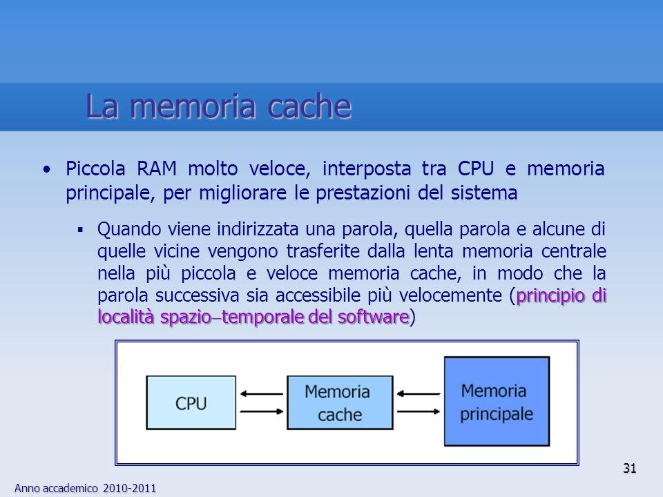 Anno accademico 2010-2011 31 Piccola RAM molto veloce, interposta tra CPU e memoria principale, per migliorare le prestazioni del sistema principio di