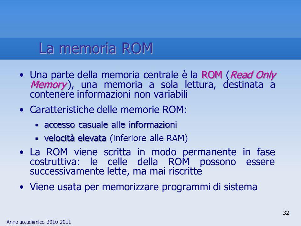 Anno accademico 2010-2011 32 ROMRead Only MemoryUna parte della memoria centrale è la ROM (Read Only Memory ), una memoria a sola lettura, destinata a