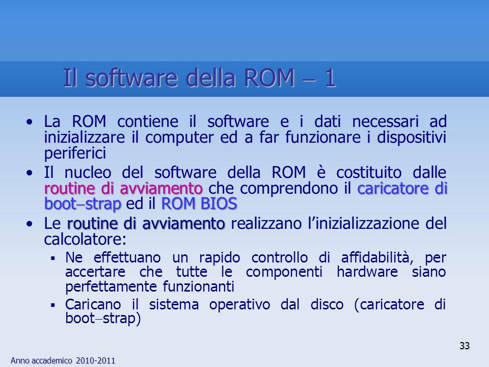 Anno accademico 2010-2011 33 La ROM contiene il software e i dati necessari ad inizializzare il computer ed a far funzionare i dispositivi periferici