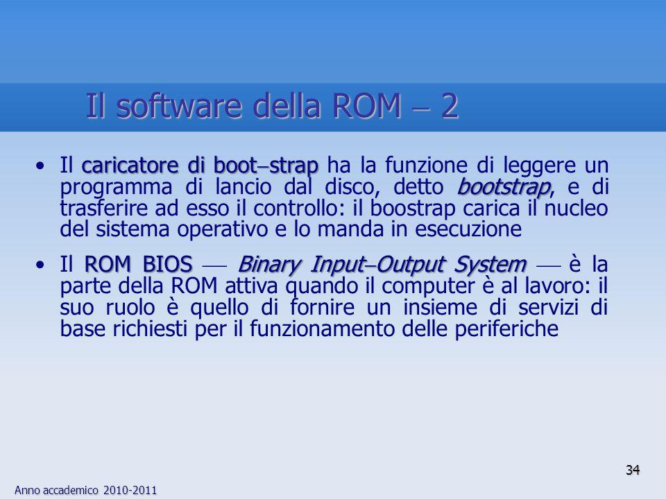 Anno accademico 2010-2011 34 Il software della ROM  2 caricatore di boot  strap bootstrapIl caricatore di boot  strap ha la funzione di leggere un